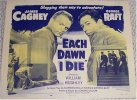 Each Dawn I Die Vintage Film Poster 1956 James Cagney Half Sheet