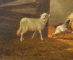 Jacob Van Dieghem Sheep Barnyard oil on board 1874