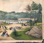 Currier & Ives Hand-colored Engraving of Central Park 1862