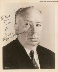 Alfred Hitchcock Signed Autographed Photo & Hand Drawn SKetch