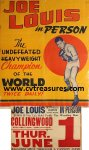 Joe Louis In-Person Appearance Poster 1950