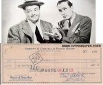 Abbott & Costello RARE Autographed Signed Business Check 1948