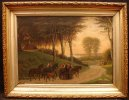 Family on Horse Carriage Oil Painting mid-19th C.