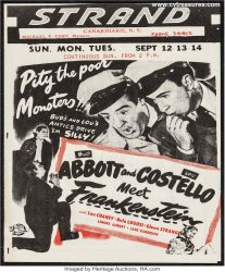 Abbott & Costello Meet Frankenstein Original Vintage Herald 1948