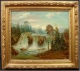 Spectacular Waterfall Oil on Canvas Late 19th Century
