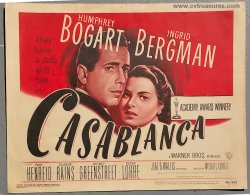 Casablanca Original Vintage Movie Poster Title Card Bogart Bergm