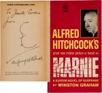 "Alfred Hitchcock Autograph Signed Sketch on ""Marnie"" book"