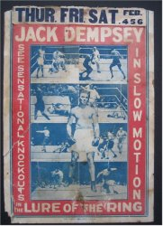 Lure of the Ring vintage Sports boxing film poster Jack Dempsey