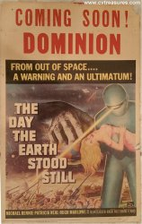 Day the Earth Stood Still Vintage Movie Poster Window Card