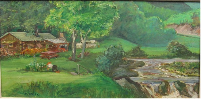 "Cecil C. Bell ""Vermont Cottage"" old oil landscape painting - Click Image to Close"