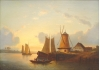 "Both ""Sunset Over Lake"" Oil Painting 19th Century"