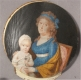 Mother & Child 18th Century Miniature Oil Painting on Ivory