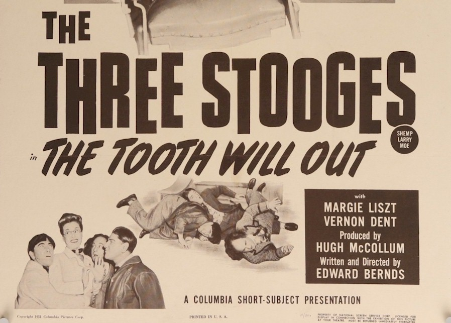 TOOTH WILL OUT Three Stooges Vintage Movie Poster one sheet 51 - Click Image to Close