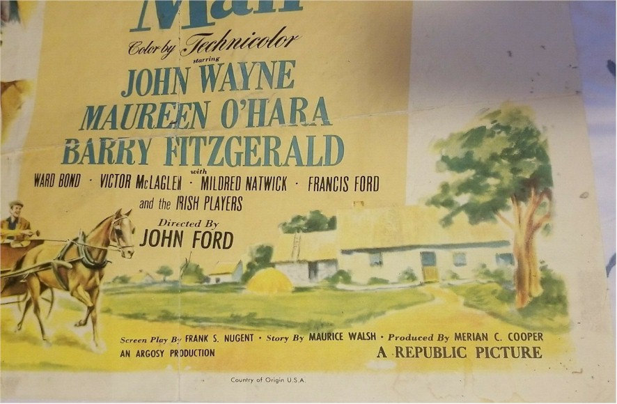 Quiet Man Vintage Movie Poster ORIGINAL 1951 Release John Wayne - Click Image to Close